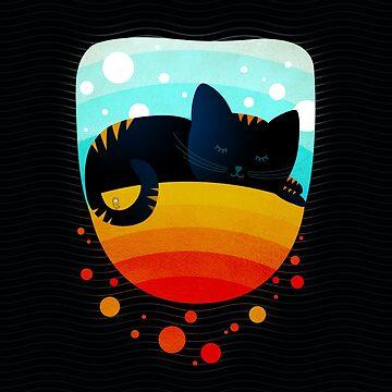 Sleepy kitty over the rainbow holding an owl on its tail by OwlyChic