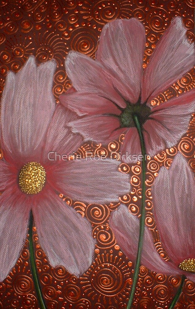 Three Pink Cosmos by Cherie Roe Dirksen