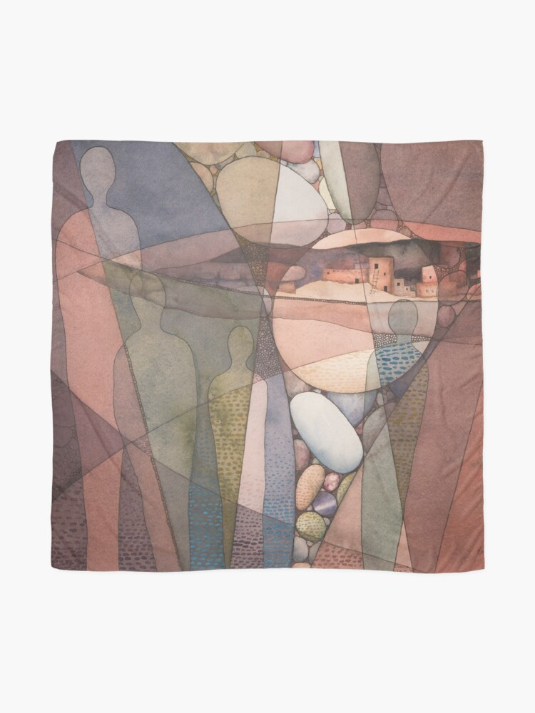 Alternate view of Canyon Dwellers Watercolor Painting Scarf