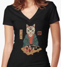 Neko Sushi Bar Women's Fitted V-Neck T-Shirt
