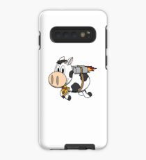 Cow Eating Pizza Wearing a Jetpack Case/Skin for Samsung Galaxy