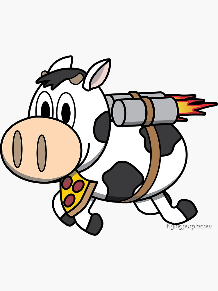 Cow Eating Pizza Wearing a Jetpack by flyingpurplecow