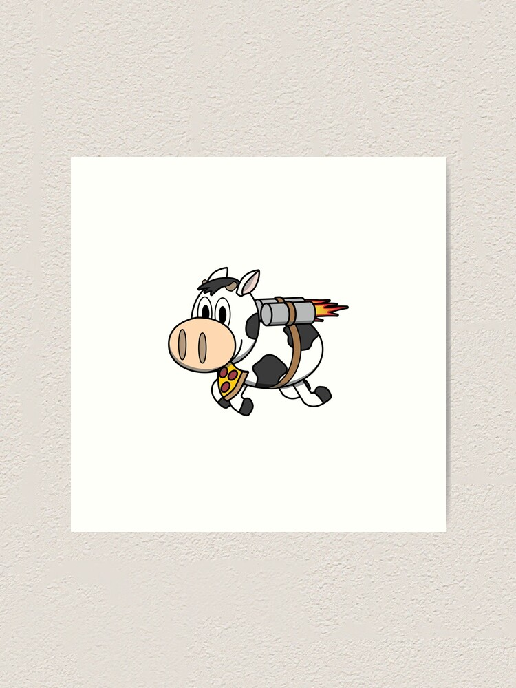 Alternate view of Cow Eating Pizza Wearing a Jetpack Art Print