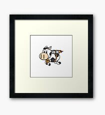 Cow Eating Pizza Wearing a Jetpack Framed Print