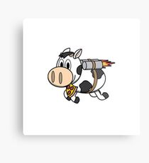 Cow Eating Pizza Wearing a Jetpack Metal Print