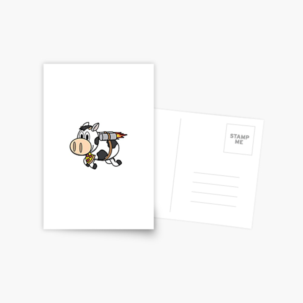 Cow Eating Pizza Wearing a Jetpack Postcard