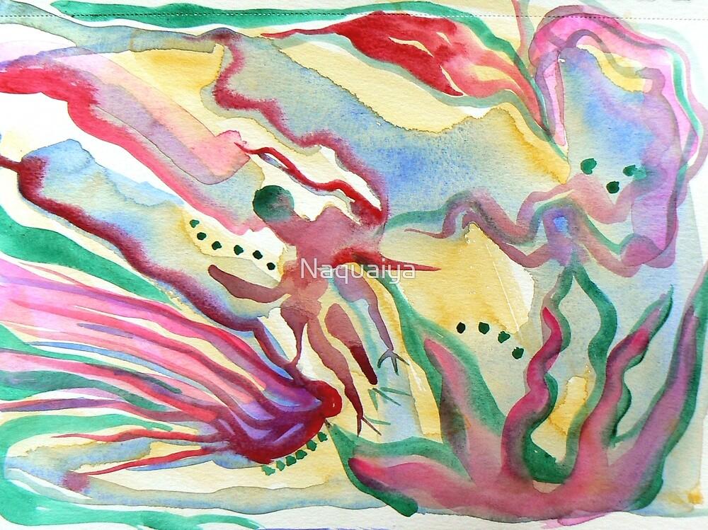 Abstract Floral watercolor, modern by Naquaiya