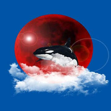 killer whale in the blood moon novelty gifts. by chumi