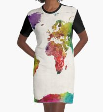 Watercolor Map of the World Map Graphic T-Shirt Dress