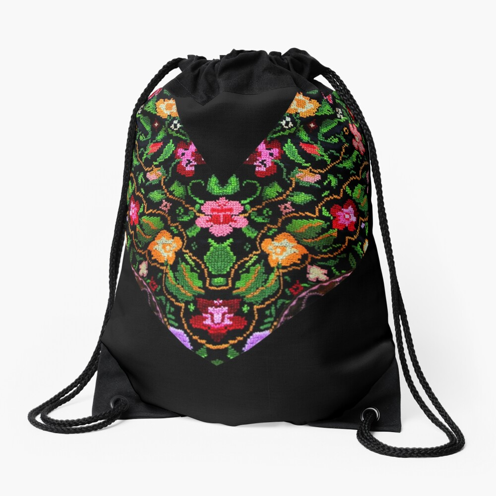 Palestinian Embroidery Flowers Drawstring Bag