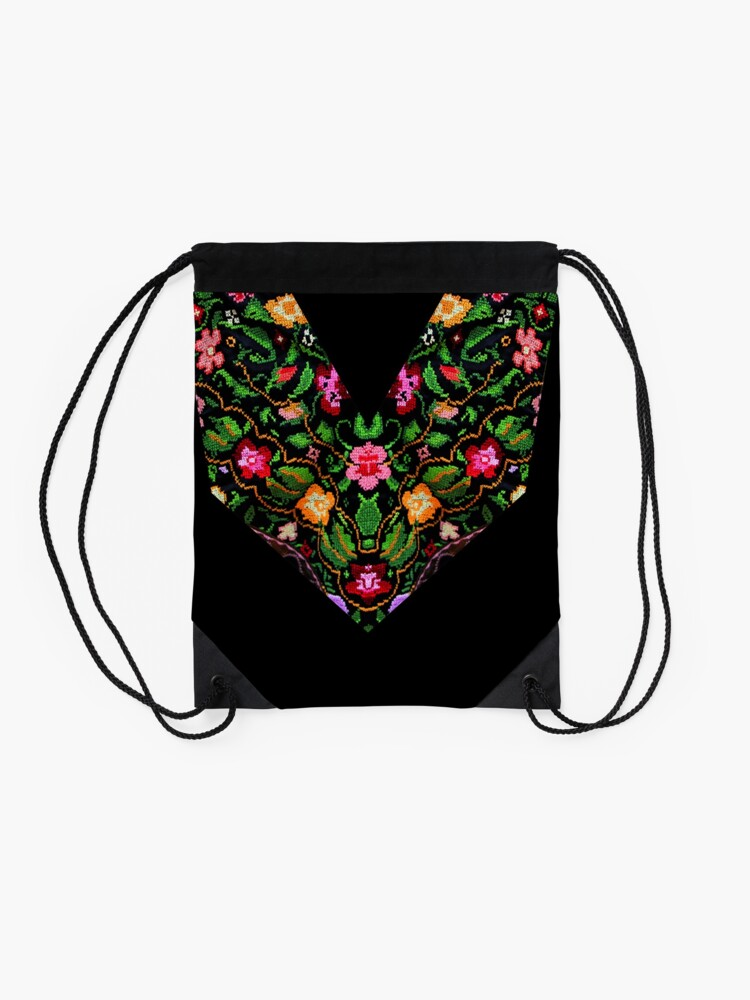 Alternate view of Palestinian Embroidery Flowers Drawstring Bag