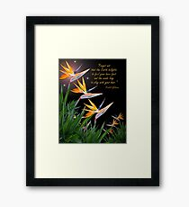 Bird of Paradise flowers with Kahlil Gibran quote Framed Print