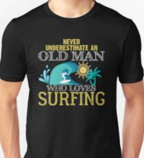 Surfing Cool Old Man Unisex T-Shirt