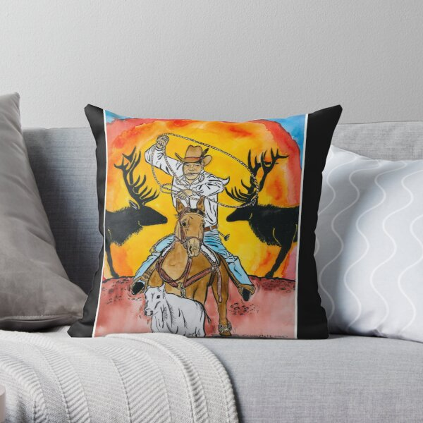 Calf roper Throw Pillow