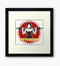 Woman holds Barbell Fitness Emblem Framed Print