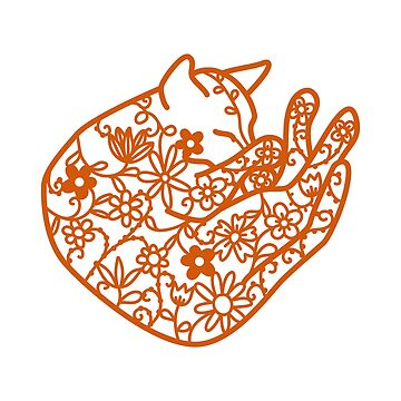 Sleeping Cat with Flowers Papercut by squirrell