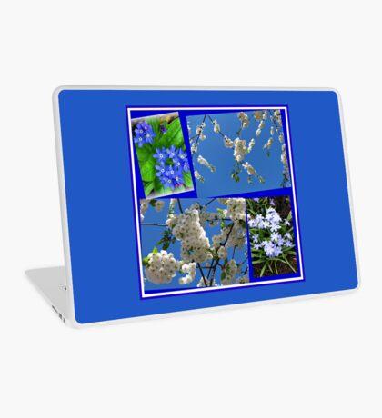 Schön Blau - Blüten und Blumen der Frühlings-Collage Laptop Skin