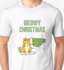 Christmas Cat Orange Cat xmas tree funny kitty Meowy Christmas tiger Unisex T-Shirt