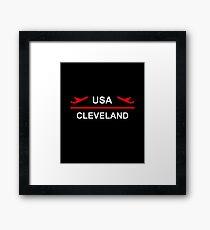 Cleveland USA Airport Plane Dark Color Framed Print