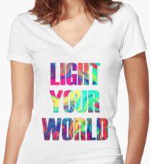 Light Your World Women's Fitted V-Neck T-Shirt