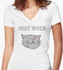 Stay Woke Cat Shirt aware kitty scared eyes open Women's Fitted V-Neck T-Shirt