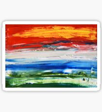 Fire in the Sky over Troubled Waters Blue, Red, and Yellow Abstract Painting Sticker