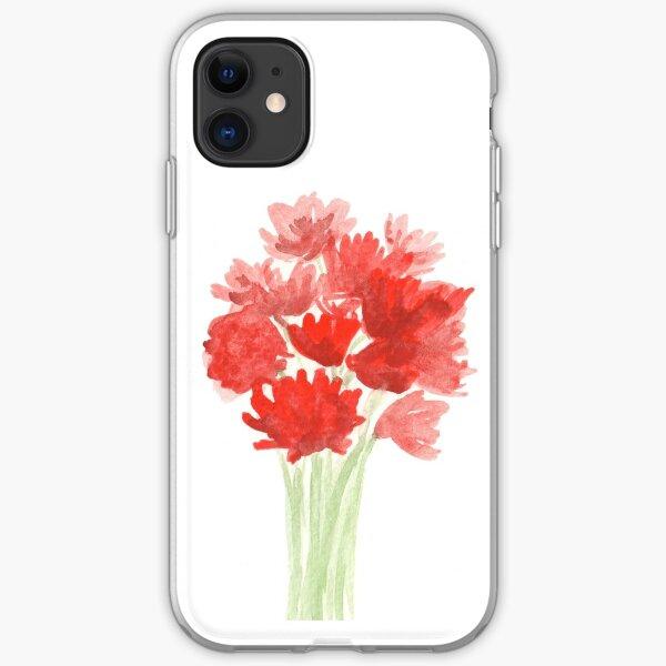 Red Azalea Flower Bouquet original watercolor painting iPhone Soft Case