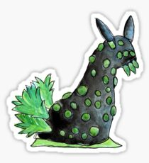 Green and black sea slug in watercolor Sticker