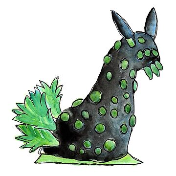 Green and black sea slug in watercolor by narwhalwall