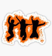 Silhouette dancing orange and black silhouette Sticker