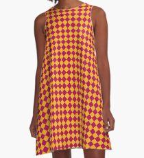 Maroon and Gold Geometric A-Line Dress