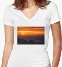SkyHigh at Sunset Fitted V-Neck T-Shirt
