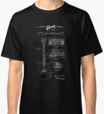 Gibson Les Paul Guitar Patent Drawing 1955 - Blueprint - Music - Rock-Blues-Metal Classic T-Shirt