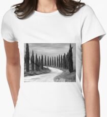 Cypress Trees, Sienna, Italy Women's Fitted T-Shirt