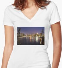 Docklands night Fitted V-Neck T-Shirt