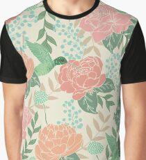 Victorian Flower Garden with Hummingbird Graphic T-Shirt