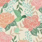 Victorian Flower Garden with Hummingbird by latheandquill