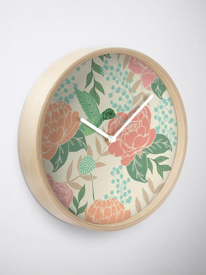 Alternate view of Victorian Flower Garden with Hummingbird Clock
