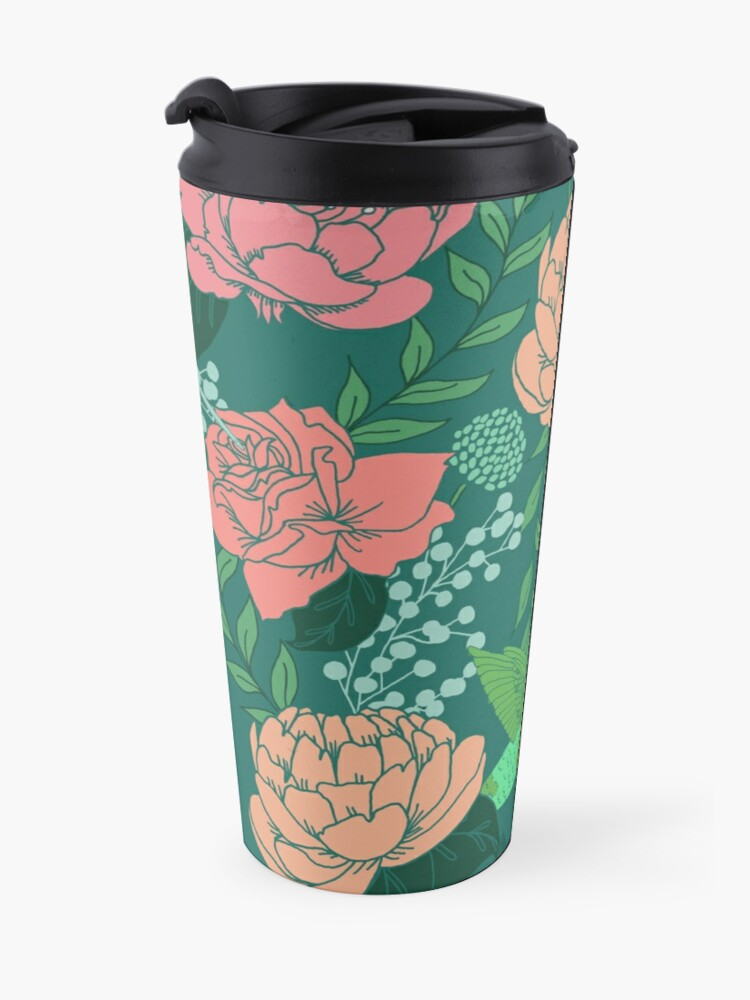 Alternate view of Victorian Floral Pattern with Hummingbird on Teal Travel Mug