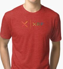 XRP RIPPLE NEW RAINBOW LOGO SIDE BY SIDE Tri-blend T-Shirt