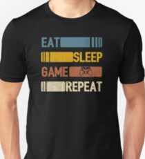 Video Game Eat Sleep Game Repeat Funny Vintage Unisex T-Shirt