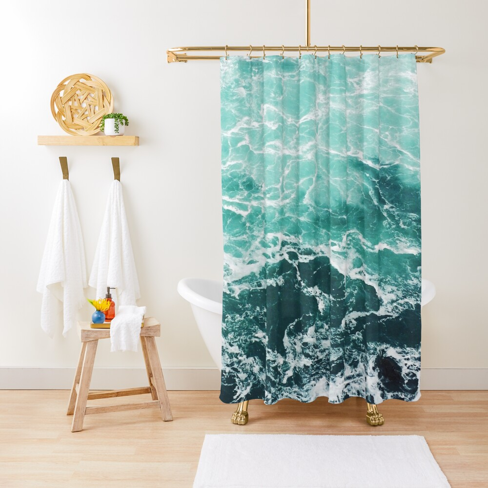 Blue Ocean Summer Beach Waves Shower Curtain