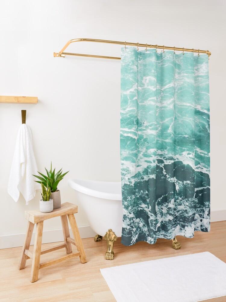 Alternate view of Blue Ocean Summer Beach Waves Shower Curtain