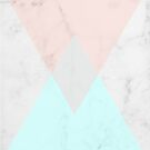 Pink and Blue Triangle Marble Pattern by AlexandraStr