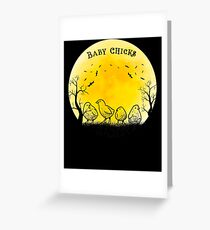 Baby Chicks Halloween Vintage Retro Moon Greeting Card