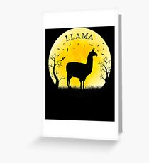 Llama Halloween Vintage Retro Moon Greeting Card