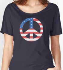 Peace Symbol with American Flag T-Shirt Women's Relaxed Fit T-Shirt