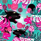 Jungle seamless vector multicolored pattern with portraits of panthers by Tanor