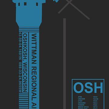 OSH Wittman Regional Airport Oshkosh, Wisconsin ATC Tower Art Print by RealPilotDesign