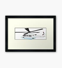 White and Grey Helicopter Framed Print